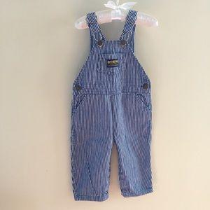 Vintage OshKosh Blue Striped Overalls 24 Month USA